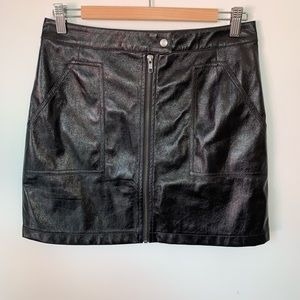 Minkpink // Black Vegan Leather High Waist Skirt